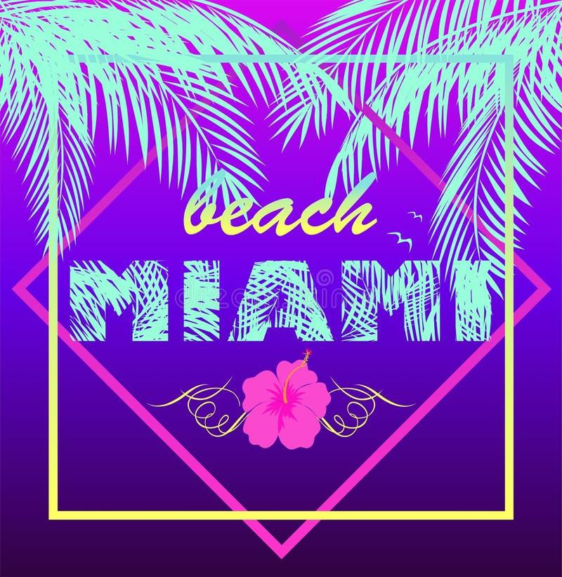 Violett tryck för T-tröjaneon med bokstäver för Miami Beach mintkaramellfärg, kokosnötpalmblad, seagullen och den lila hibiskusen vektor illustrationer
