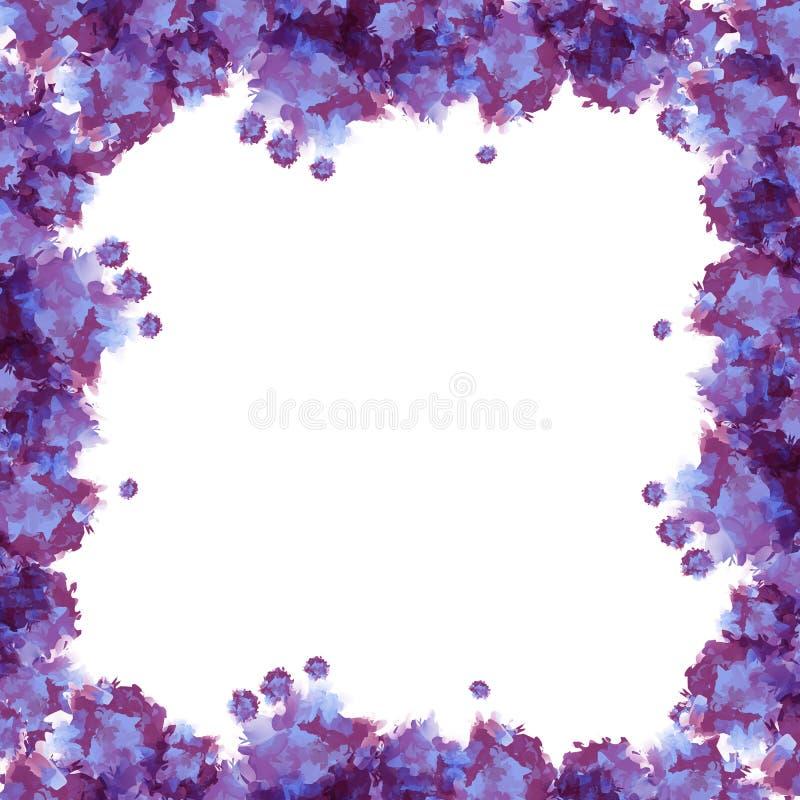 Violett vattenfärgram stock illustrationer