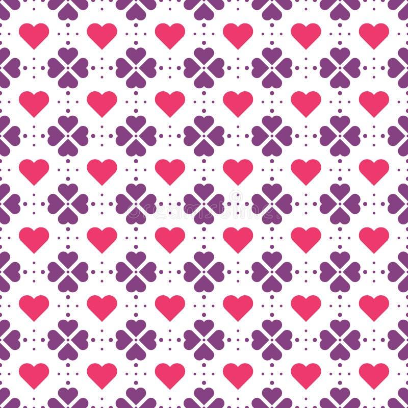 Violetta blommor och röd hjärtavektormodell vektor illustrationer