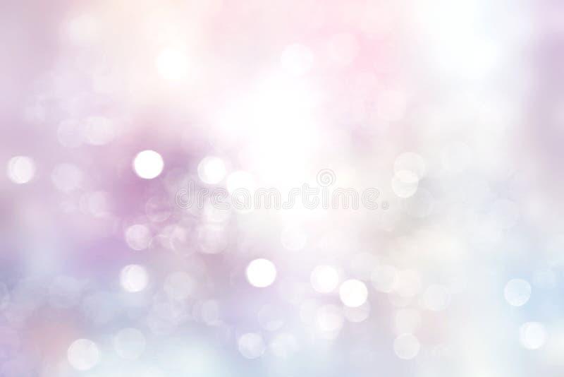Violetta mjuka suddiga ljus bakgrund, vinterbokehbakgrund stock illustrationer