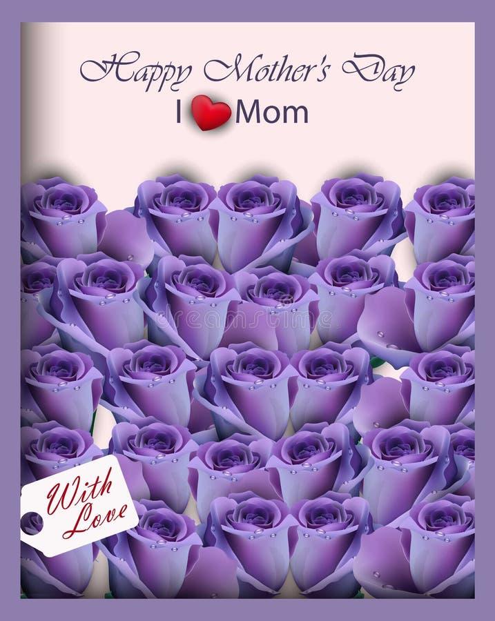 Violetta purpurfärgade rosor i en realistisk vektor för gåvaask Den lyckliga morsa dagen cards bästa sikt royaltyfri illustrationer