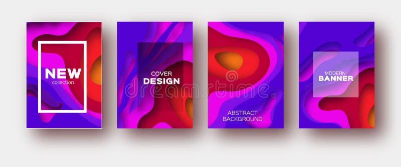 Violetta röda former för papperssnittvåg Den i lager kurvorigamin planlägger för affärspresentationer, reklamblad, affischer Upps royaltyfri illustrationer