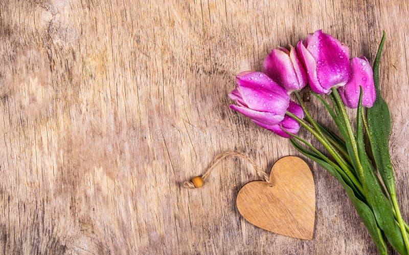Violetta tulpan och trähjärta kopiera avst?nd Träbakgrund och tulpan fotografering för bildbyråer