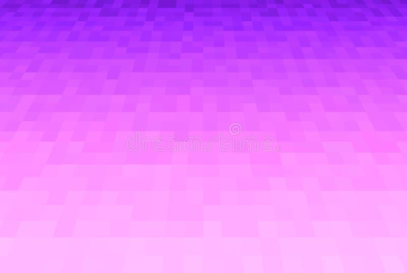 Violette abstraite et fond rose de gradient Texture avec les blocs carrés de pixel Modèle de mosaïque Avion dans la perspective illustration stock
