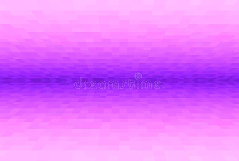 Violette abstraite et fond rose de gradient Texture avec les blocs carrés de pixel Modèle de mosaïque Avions dans la perspective  illustration stock