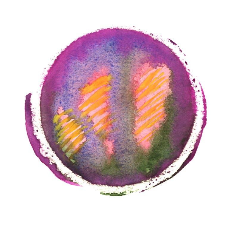 Violette, blauwe, groene, roze en gele waterverfcirkel Kleurrijke hand - gemaakte ontwerpelementen Oranje natte die hand om plons stock illustratie