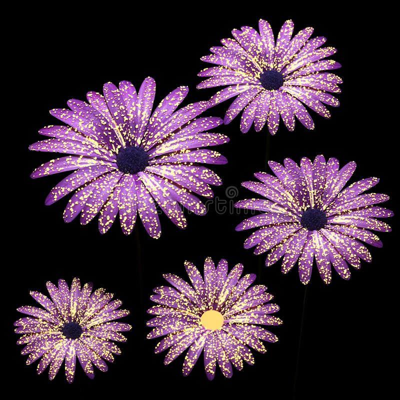Violette bloemensamenstelling in zwarte 3D illustratie royalty-vrije illustratie