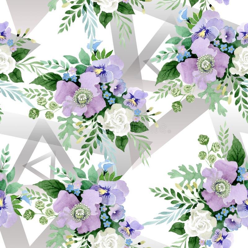 Violette boeket bloemen botanische bloemen Waterverf achtergrondillustratiereeks Naadloos patroon als achtergrond stock illustratie