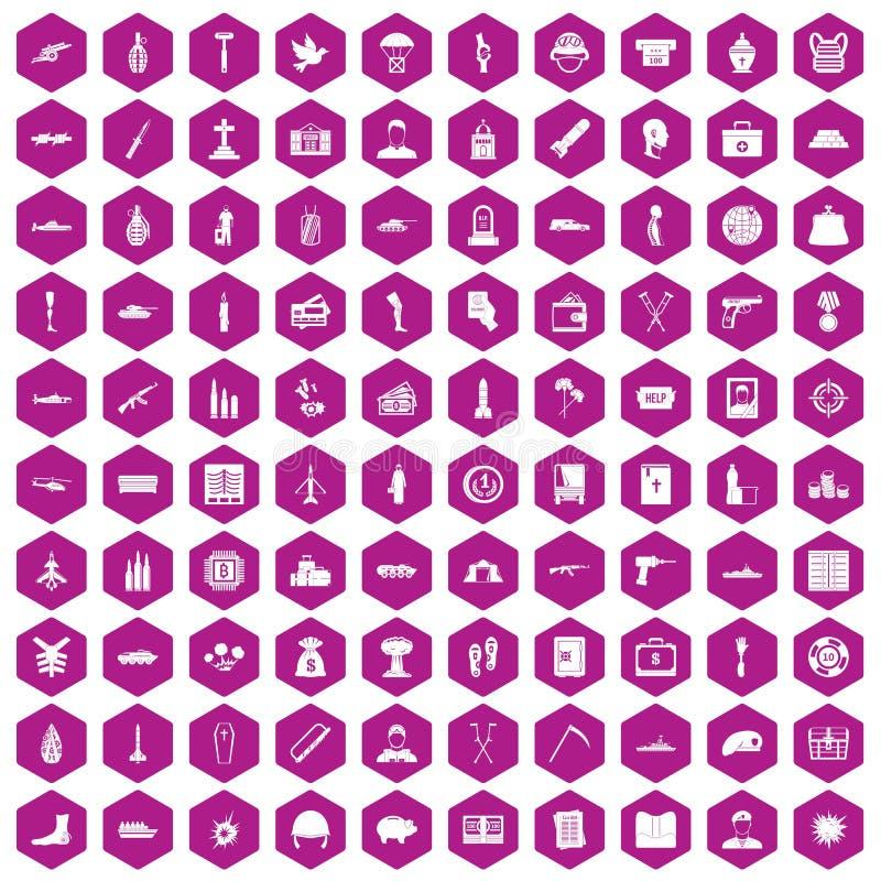 violette d'hexagone de 100 de guerre icônes de crimes illustration de vecteur