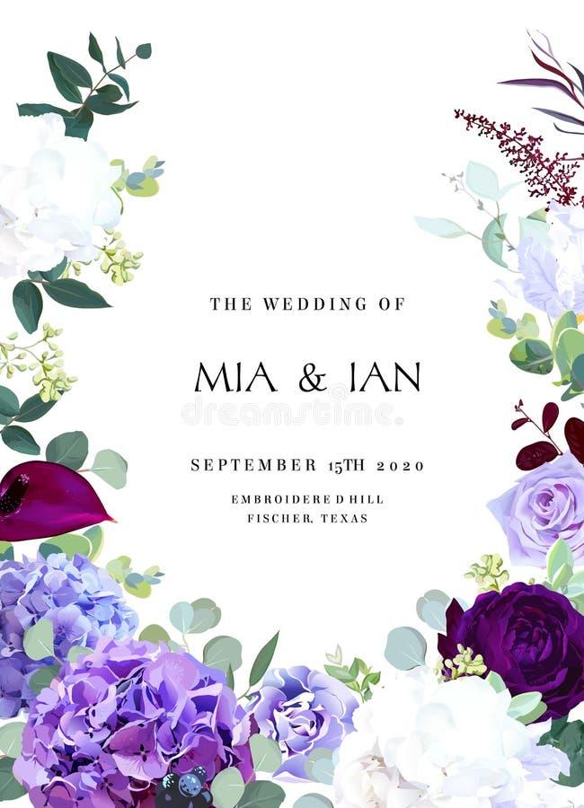 Violette foncée et hyrangea de rose, blanc et lilas pourpre, iris, voiture illustration libre de droits