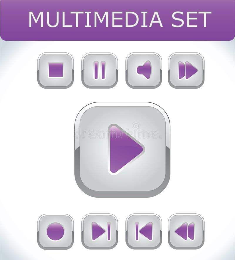 Violette geplaatste multimedia stock illustratie