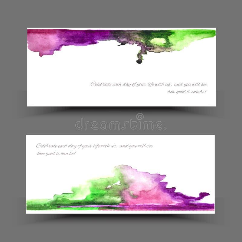 Violette groene geel van de bannerwaterverf vector illustratie