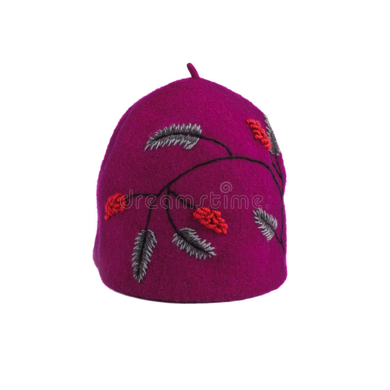 Violette-Hut mit Blumenstickerei lizenzfreies stockbild