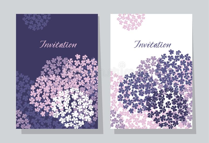 Violette hydrangea hortensia om het malplaatje van de boeketkaart stock illustratie