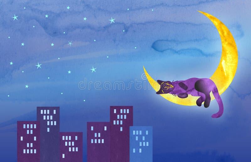 Violette Katze schläft auf einem Halbmond über der Nachtstadt Stellen Sie von den Illustrationen mit einem lustigen K?tzchenchara stock abbildung