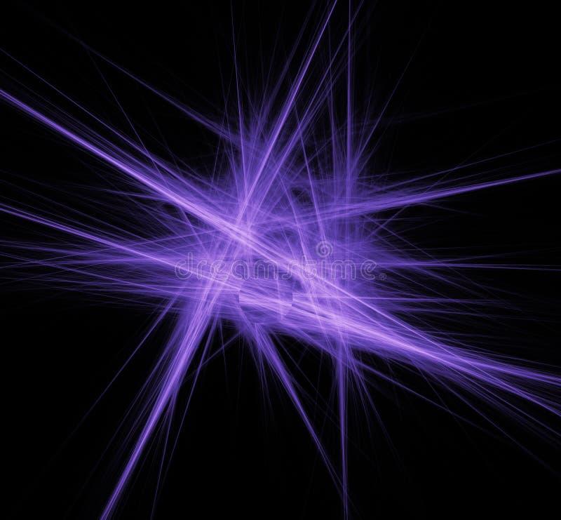 Violette lijnenfractal op zwarte achtergrond Fantasiefractal textuur Digitaal art het 3d teruggeven Computer geproduceerd beeld vector illustratie