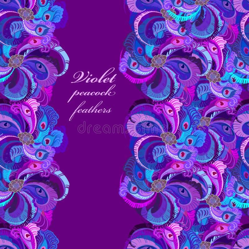 Violette, lilac en blauwe pauwveren Verticaal grens donker ontwerp stock illustratie