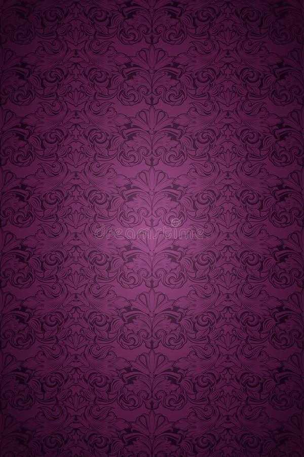 Violette, marsala, fond pourpre de vintage, royal avec le modèle baroque classique photos stock