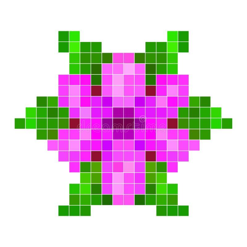 Violette pixelbloem stock illustratie