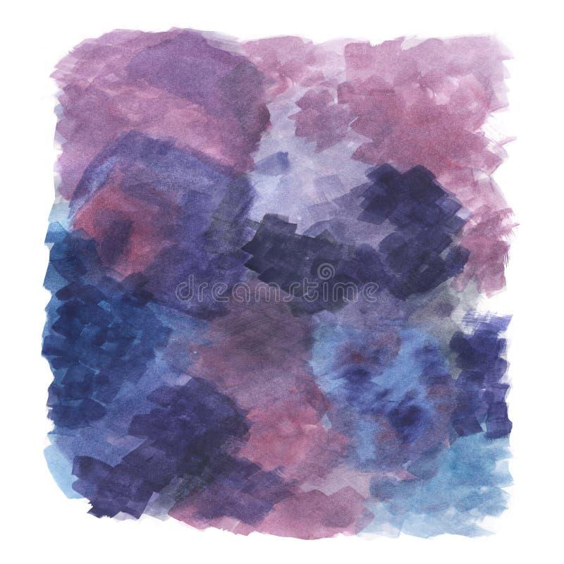 Violette, purpere abstracte illustratie van het hand-drawn waterverf schilderen, artistieke achtergrond royalty-vrije illustratie
