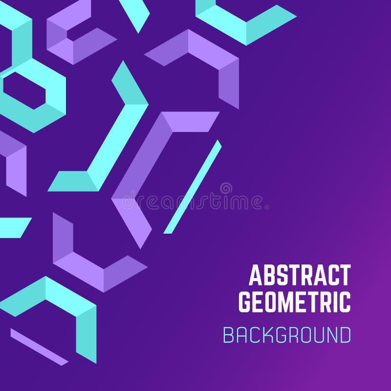 Violette purpere blauwe abstracte geometrische achtergrond royalty-vrije illustratie