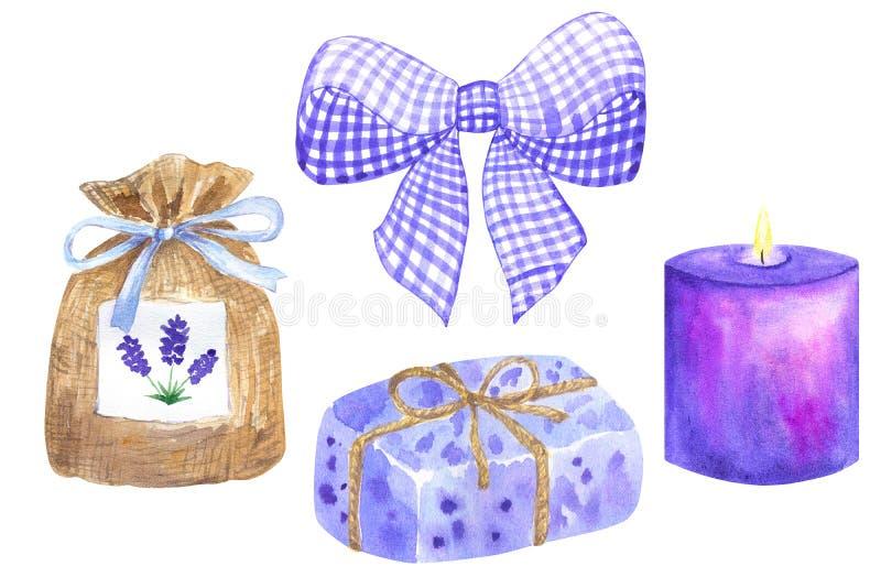 Violette purpere witte boog Lavendelsachet met blauw lint Stuk van violette lavendel verpakte zeep Het purpere violette branden royalty-vrije illustratie