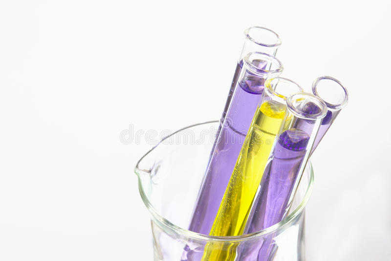 Violette Reagenzgläser im Becher stockfotografie