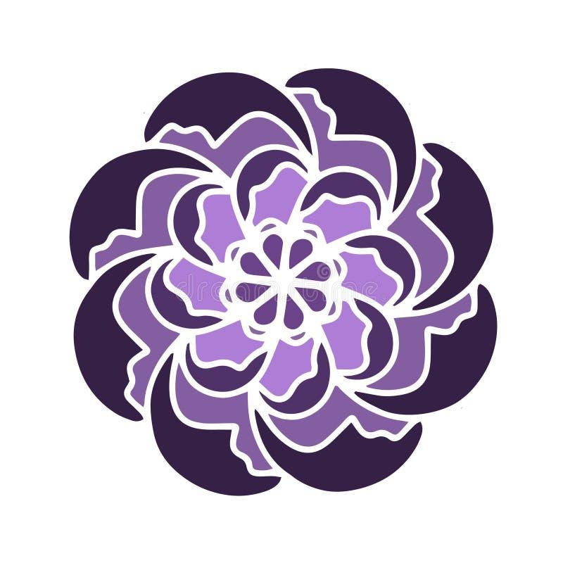 Violette russische Kultur Blumenvektorform Vervollkommnen Sie für Yogakonzept eco strengen Vegetariers, Logoart, Grafikdesign, Mu stock abbildung