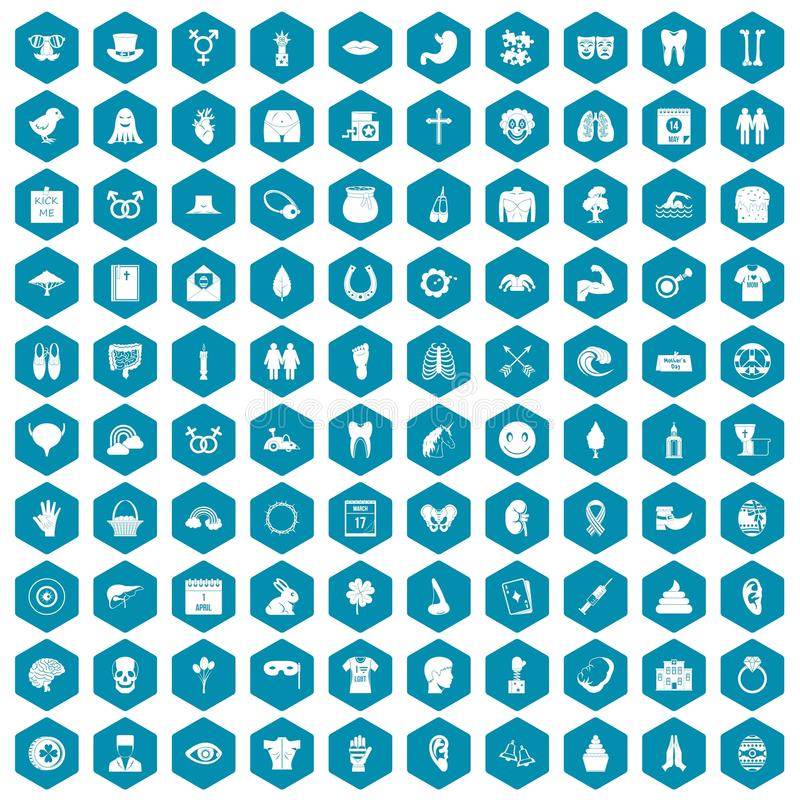 violette saphirine de 100 de ressort icônes de vacances illustration libre de droits