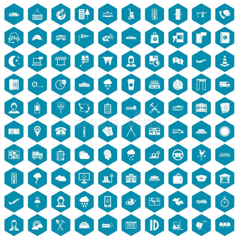 violette saphirine de 100 icônes d'expéditeur illustration de vecteur