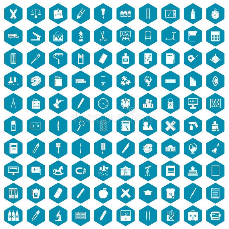 violette saphirine de 100 icônes de papeterie illustration libre de droits
