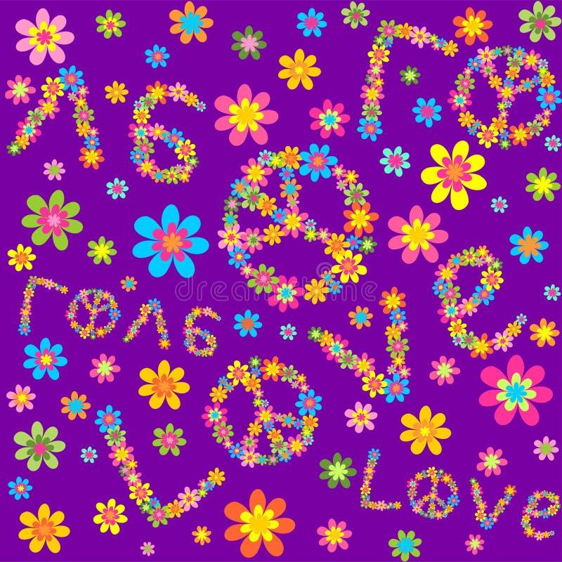 Violette Tapete der Hippie mit bunten Blumen und Liebesbeschriftung lizenzfreie abbildung