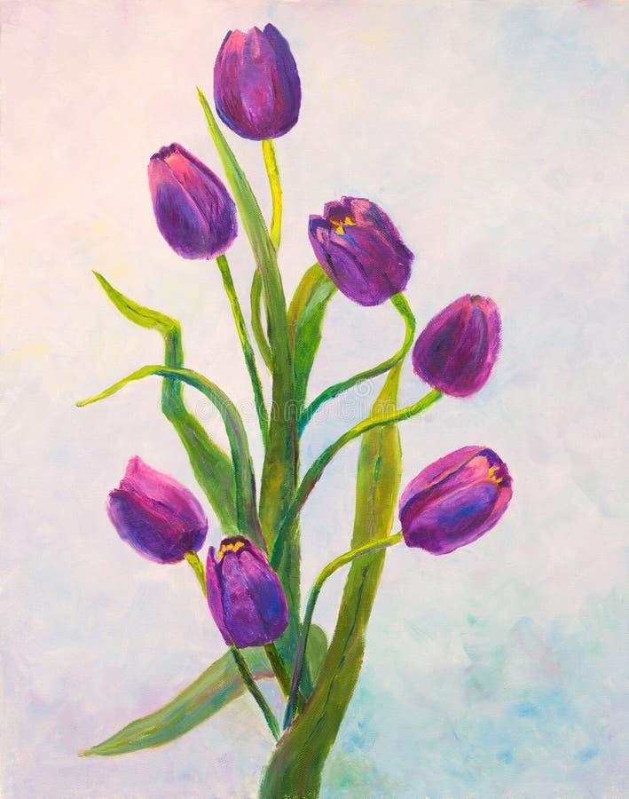 Violette tulpen die olie op canvas schilderen royalty-vrije illustratie