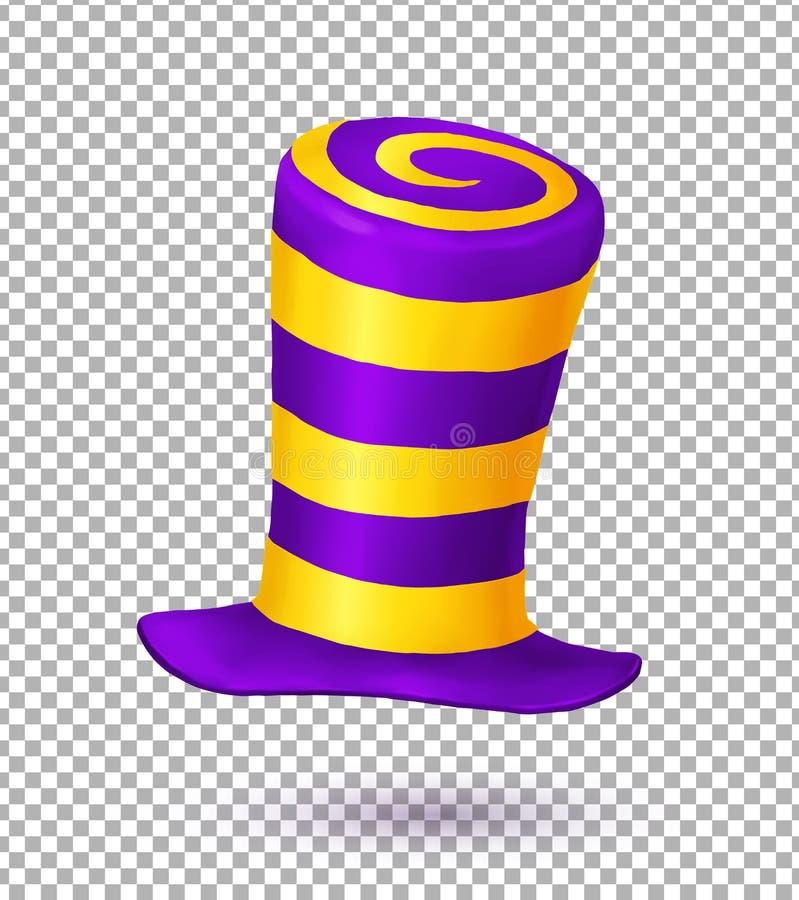 Violette und gelbe Farben streiften realistischen Vektorkarnevalshut stock abbildung