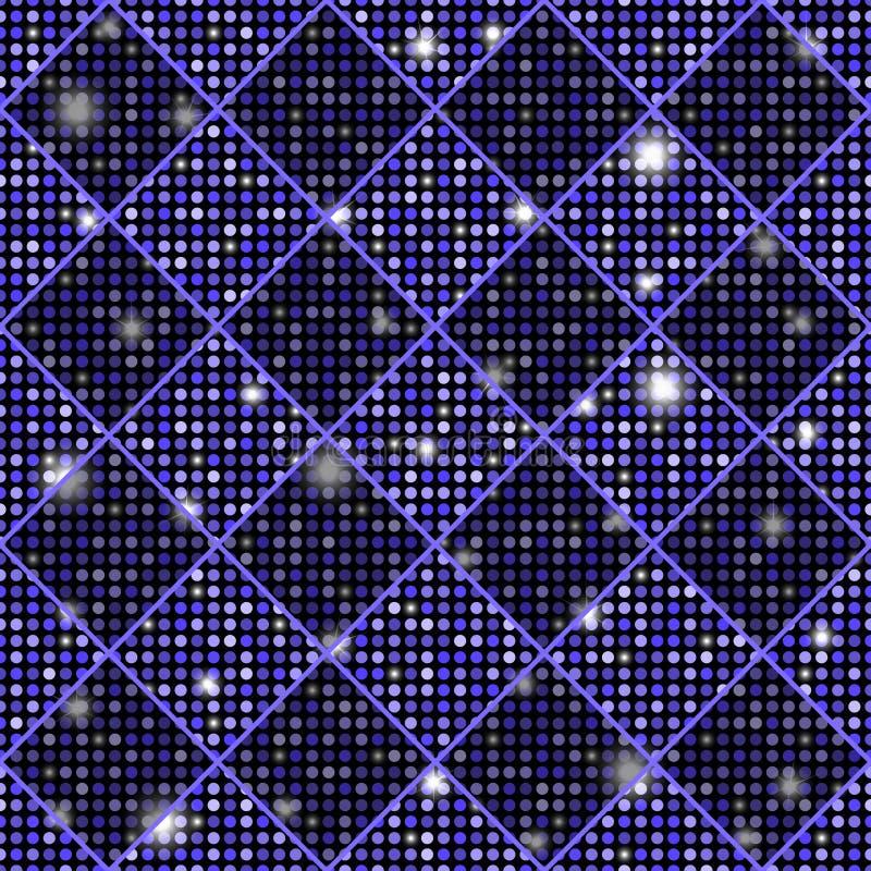 Violette vector naadloze schaak gestileerde uitstekende textuur met glanzende rondes stock illustratie