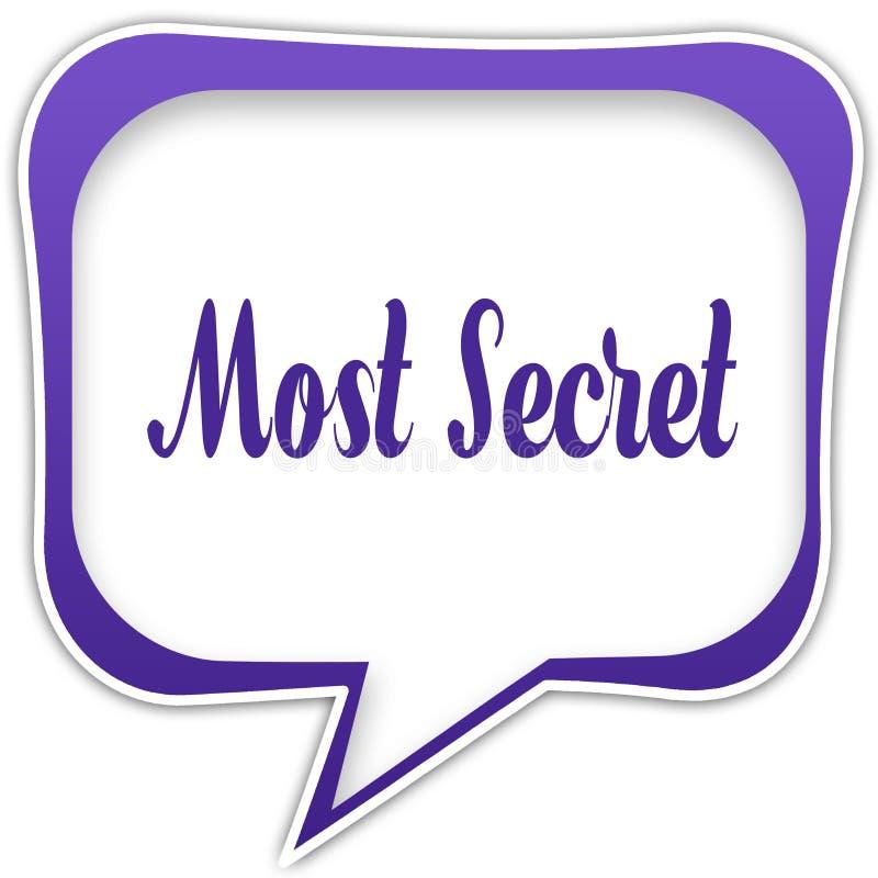 Violette vierkante toespraakbel met GEHEIMSTE tekstbericht stock illustratie