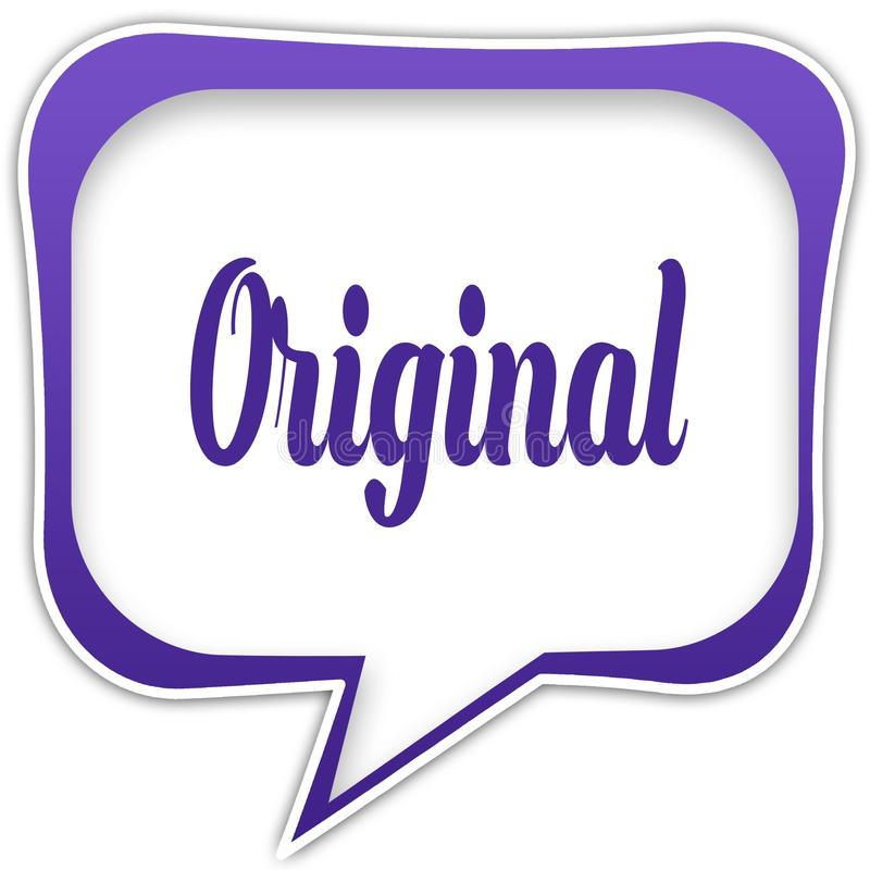 Violette vierkante toespraakbel met OORSPRONKELIJK tekstbericht vector illustratie