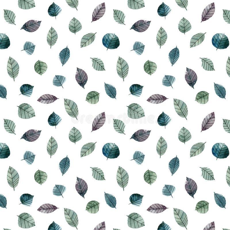 Violette waterverfbladeren royalty-vrije illustratie