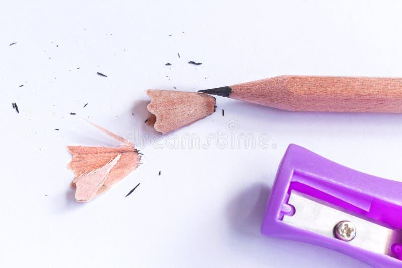 Violetter Bleistiftspitzer und Bleistift lokalisiert auf Weißbuch backg stockfotografie