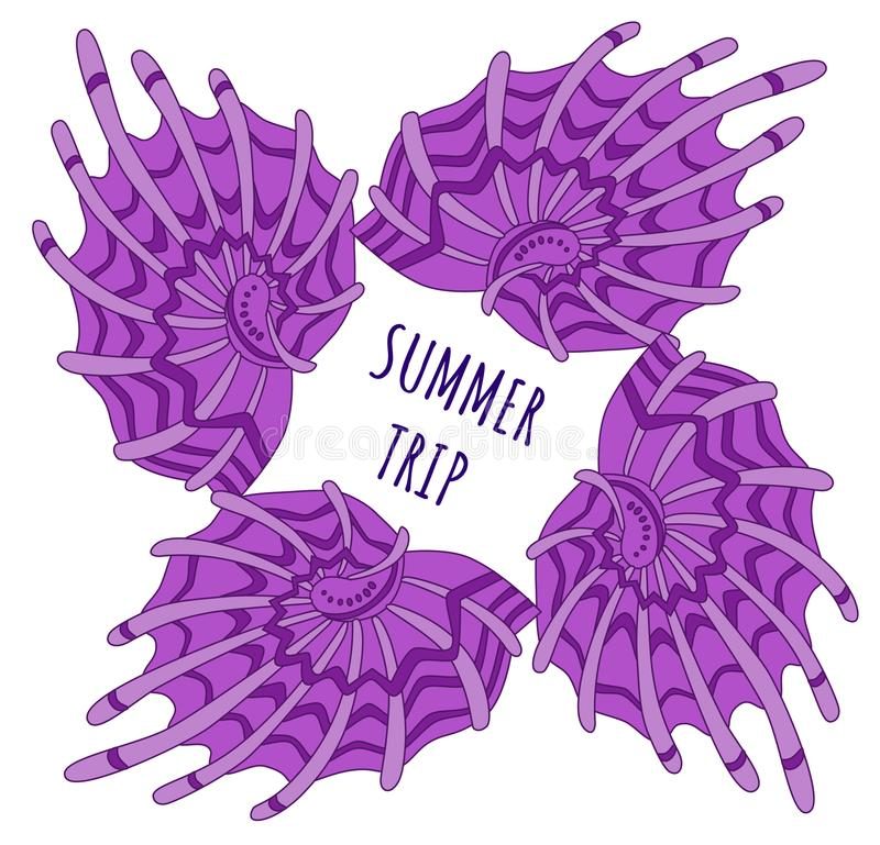 Violetter Oberteilrahmen der Sommerreise vektor abbildung