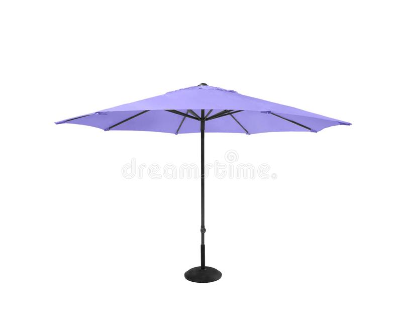 Violetter Strandschirm lokalisiert auf Weiß lizenzfreie stockbilder