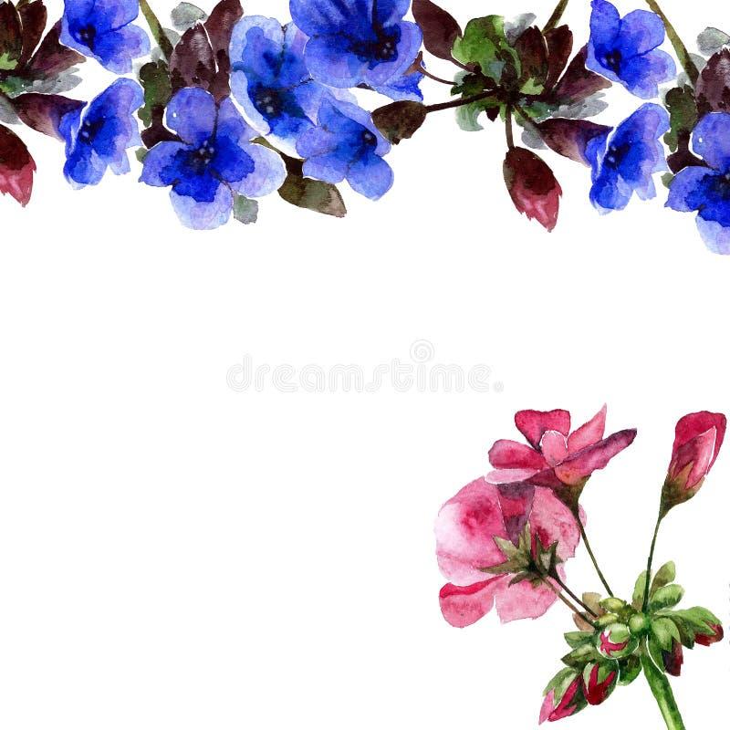 Violettes avec le géranium illustration libre de droits
