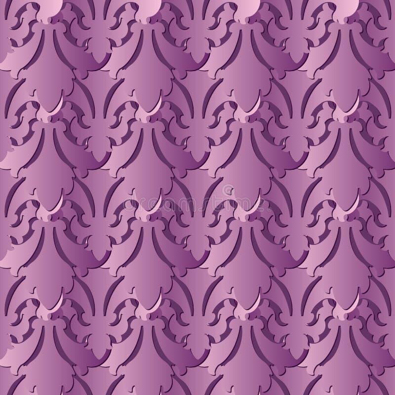 Violettes barockes nahtloses Muster 3d Vektorblumenhintergrund wal vektor abbildung