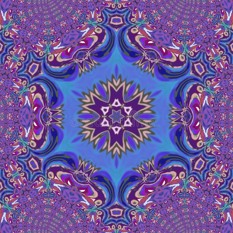 Violettes caleidoscope digitale Kunst mit vielen Details vektor abbildung
