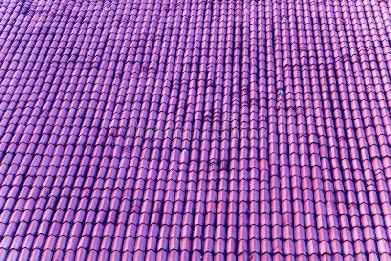 violettes Dach mit Keramikfliesen stockfotografie