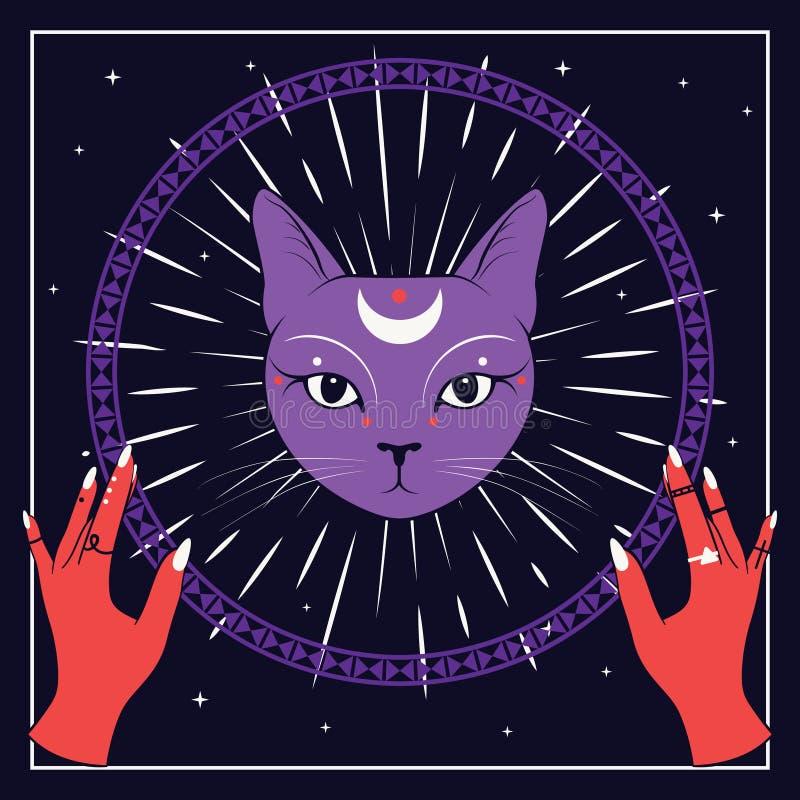 Violettes Katzengesicht mit Mond auf nächtlichem Himmel mit dekorativem rundem Rahmen Rote Hände Magische, geheimnisvolle Symbole stock abbildung