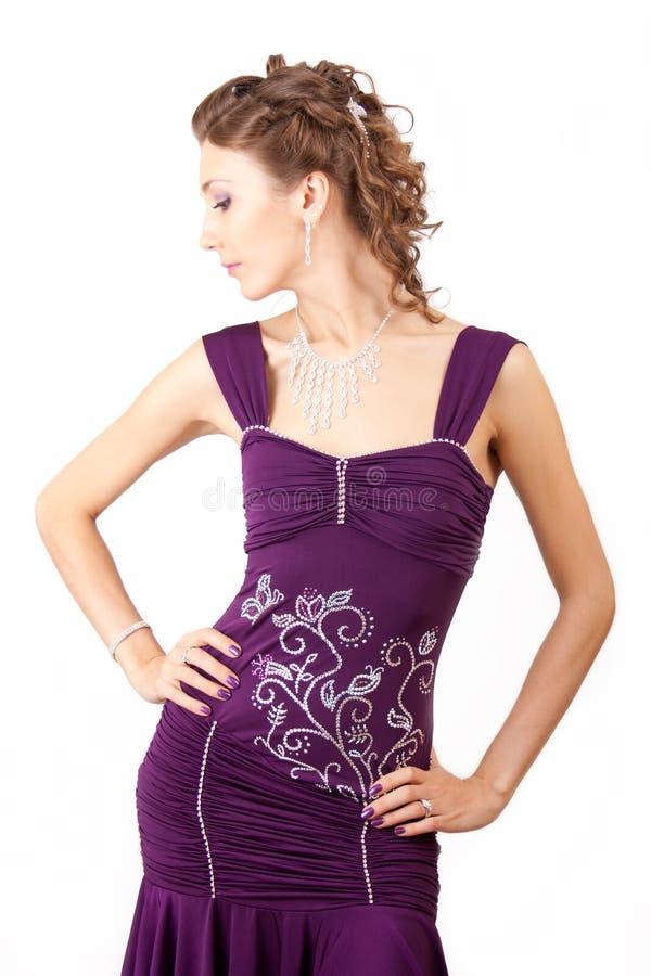 Violettes Kleid. stockbilder