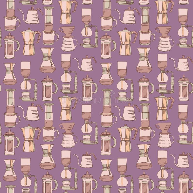Violettes nahtloses Vektormuster der alternativen Kaffeebrauverfahren mit verschiedenen Filtrierapparaten stock abbildung
