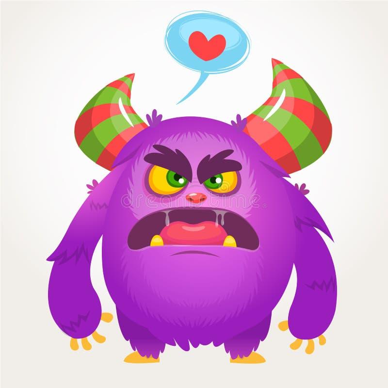 Violettes verärgertes Monster der Karikatur in der Liebe St.-Valentinsgruß-Vektorillustration des liebevollen Monsters stock abbildung