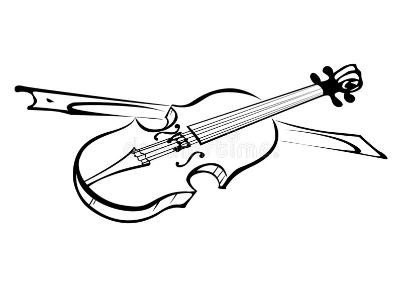 Violin. Sketch of violin in black on a clear white background royalty free illustration